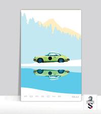 "Yellow Porsche 911 In The Alps. Classic Poster Aluminum 18 ""x 24"""