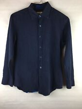 Tommy Bahama Men's Size Small Button Down Shirt Dark Blue Long Sleeve CottonSilk