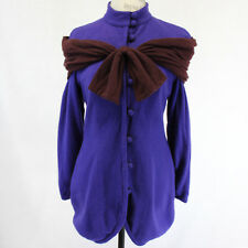 Peggy Jennings Haute Couture Custom Made Cashmere Blue Coat Jacket Brown Scarf S