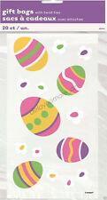 Easter Party 20x Cello Bunny Rabbit Eggs Plastic Loot Lolly Treat Candy Bags Tie