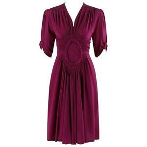 ELSA SCHIAPARELLI c.1930's Magenta Smocked Braided Trim Belted Dress Early Label