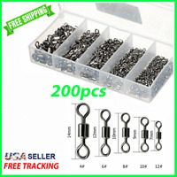 Fishing SWIVELS 200pc Ball Bearing Solid Ring Hook Connector Tackle #4 6 8 10 12