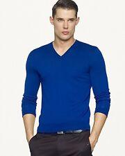 Medium Blue Cashmere V Neck Sweater By Ralph Lauren