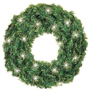 "24"" Clear 50 Bulb Incandescent Canadian Pine Prelit Christmas Wreath 447102"