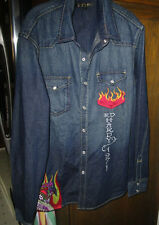 Ed Hardy XL Denim Snap Front Long Sleeve Embroidered Cobra Shirt