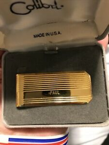 Colibri Gold Plated Money Clip Vintage - new in original box - Engraved PAUL
