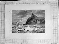 Original Old Antique Print C1900 View Entrance Fowey Harbour Stormy Sea Boat