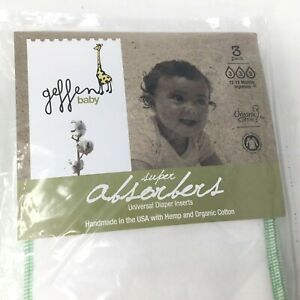 Geffen Baby~Absorbers~Cloth Diaper Inserts~Hemp~Organic Cotton~Liners~3 Pack~NIP