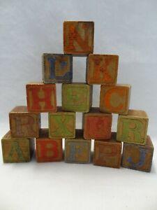 Very Old Vintage Wood Wooden Alphabet Letter Animal Number Blocks Lot of 15