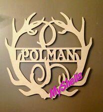 Deer horn Monogram door hanger