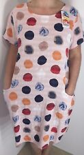 ITALIAN LAGENLOOK DRESS COTTON PINK SPOTTED POCKETS COOL PLUS SIZE 16 18 20