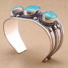 Unisex Gift Turquoise Stone Cuff Bracelet Bangle Tibet Silver 3 Stone Bead