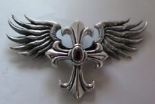 HUGE & HEAVY WING RED RUBY CROSS SOLID STERLING 925 SILVER PENDANT