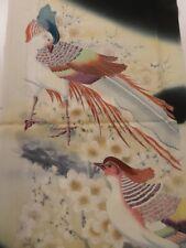 "1V02z80 Japanese Kimono Silk Artist work FABRIC Black Bird 52"""