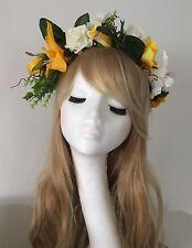 Festival Flower Rose Headband Large Boho Headdress Headpiece Hairband Vintage