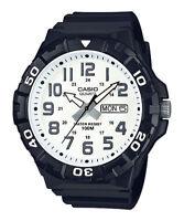 Casio Men's Quartz White Dial Rotating Bezel Black Resin 50mm Watch MRW210H-7AV