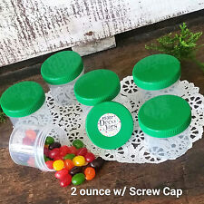 20 NEW Plastic 2 Ounce Empty Cosmetic Container Jar Green Cap Reusable USA