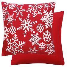 Copos De Nieve Navidad Mezcla Algodón Rojo Blanco Grueso tejido funda cojín