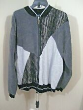 Vintage TUNDRA Canada Black/Gray Coogi Style Full Zip Sweater Jacket Sz XXL