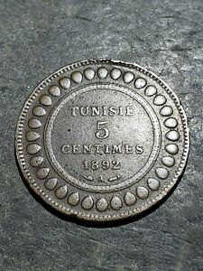 1892 A Tunisia 5 Centimes Coin