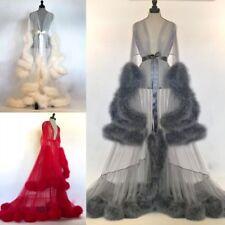Sexy Faux Fur Lady Sleepwear Women Bathrobe Sheer Nightgown Red White Gray Robe