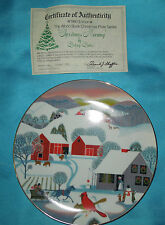 "1980 WORLD BOOK ANNUAL CHRISTMAS PLATE SERIES ""CHRISTMAS MORNING"" no. 8154A COA"