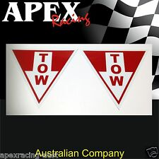 Racing Sticker White Arrow Tow Point Decals x2 - Suits CAMS Approved Races Rally