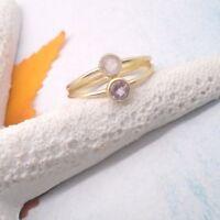 Amethyst Rosenquarz lila rosa gold Ring Ø 18,25 19,25 mm 925 Sterling Silber neu