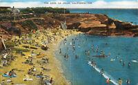 Linen Postcard CA C561 The Cove LA Jolla California Beach Marine 1950 Cancel