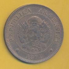 ARGENTINA TONED UNCIRCULATED 1 CENTAVO 1892 RARE KEY DATE KM 32 UNC