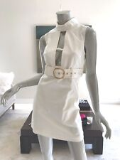 $328 NWT MILLY RUNWAY IVORY WHITE CUTOUT FRONT SLEEVELESS DRESS SIZE 2 SMALL