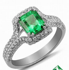 1.53ct Solid 18K White Gold Genuine Natural Emerald Engagement VS Diamond Ring