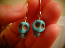 14k gf Gold or Sterling Silver Wrap Turquoise * SKULL * Stone Dangle Earrings