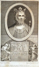 Gravure Etching Kupferstich Edward II by G. Vertue engraved by William Sherwin