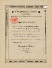 Gewerkschaft Gustav Duisburg histor. Kuxschein 1923 Dillenburg Espey Erz Bergbau