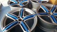 "Genuine Audi Alloy Wheels A5 19"" x 9 Et33 Sprint Blue & Black Edition x4 Felgen"