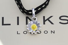 Genuine links of LONDON sterling 925 argent & émail daisy fleur charme neuf