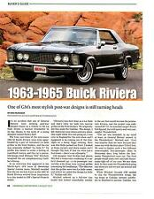 1963-1965 BUICK RIVIERA  ~  VERY NICE 4-PAGE CLASSIC CAR ARTICLE / AD