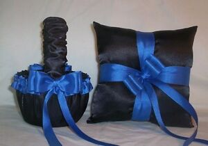BLACK SATIN / HORIZON BLUE TRIM FLOWER GIRL BASKET & RING BEARER PILLOW