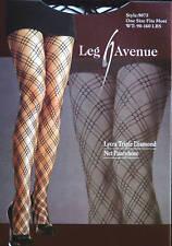 Leg Avenue Fashion Lycra Triple Diamond Net Black Pantyhose One Size