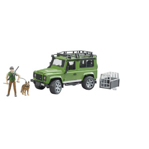 1/16 Green Land Rover Defender w Forester and Dog by Bruder 02587