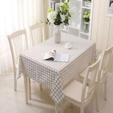 Linen Table Cloth Country Style Plaid Print Rectangle Table Cover Tablecloth