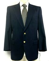 Burberrys Size 46R VINTAGE Wool Blazer Navy Blue w Gold Buttons Liberty House