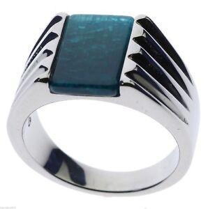 Capri Blue Sand Stone Stainless Steel Men's Ring Size 11
