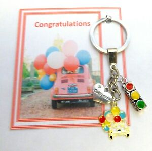 Congratulations on Passing your Driving Test Gift Key Ring Card & Organza Bag V7
