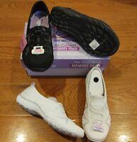 SKECHERS Women's Slip On Relaxed Fit Memory Foam SNEAKERS Black White New Shoes