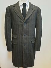 F602 MENS LIMEHAUS GREY RED WOOL COTTON COLLARED OVERCOAT UK M EU 50
