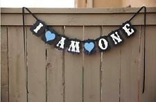 Vintage 1st Birthday Party Bunting Banner Baby Boy Blue Decoration I Am One