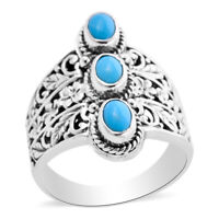 BALI LEGACY 925 Sterling Silver Sleeping Beauty Turquoise Ring Size 8 Ct 1.2