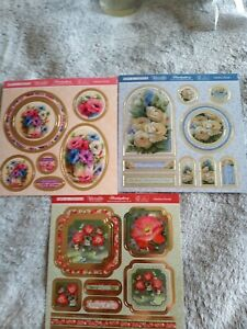 (12) Set Of 3 Pop A Toppers From Hunkydory Fabulous Florals Collection